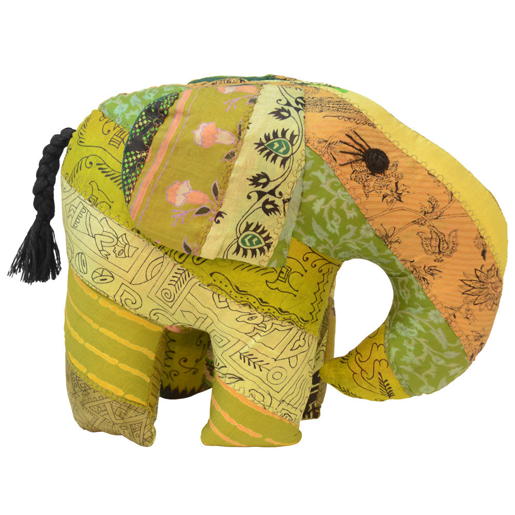 Green Silk Patchwork Jumbo Elephant