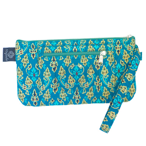 Teal Flame Clutch Wristlet Wallet