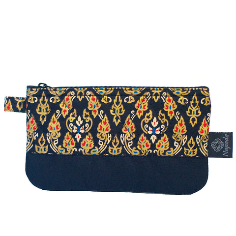 Black Flame Quilted Pencil Pouch