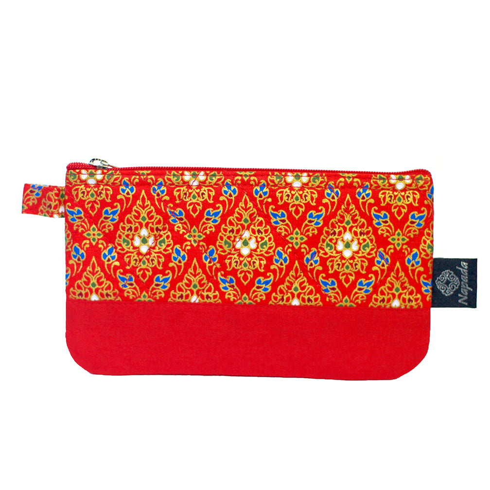 Red Quilted Pencil Pouch