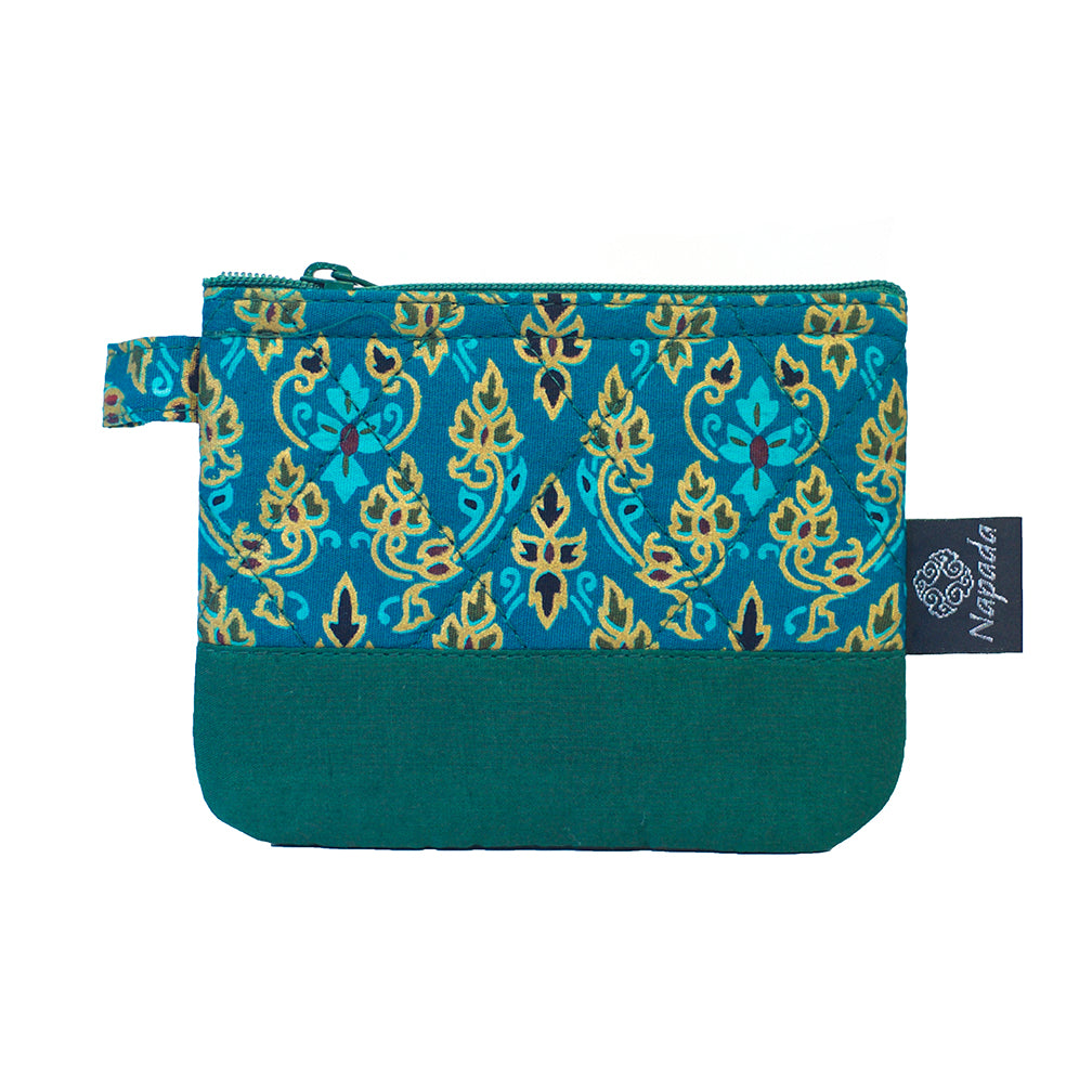 Green Quilted Coin Purse