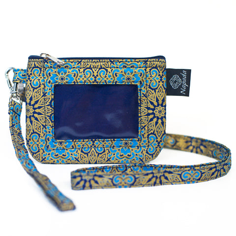 Blue Sunburst ID Wallet w/ Lanyard