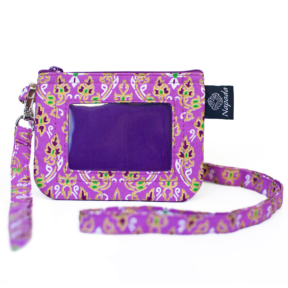 Purple Flame ID Wallet w/ Lanyard