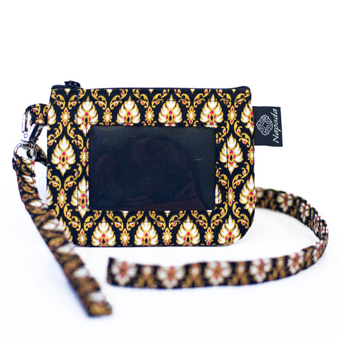 Black & Gold ID Wallet w/ Lanyard