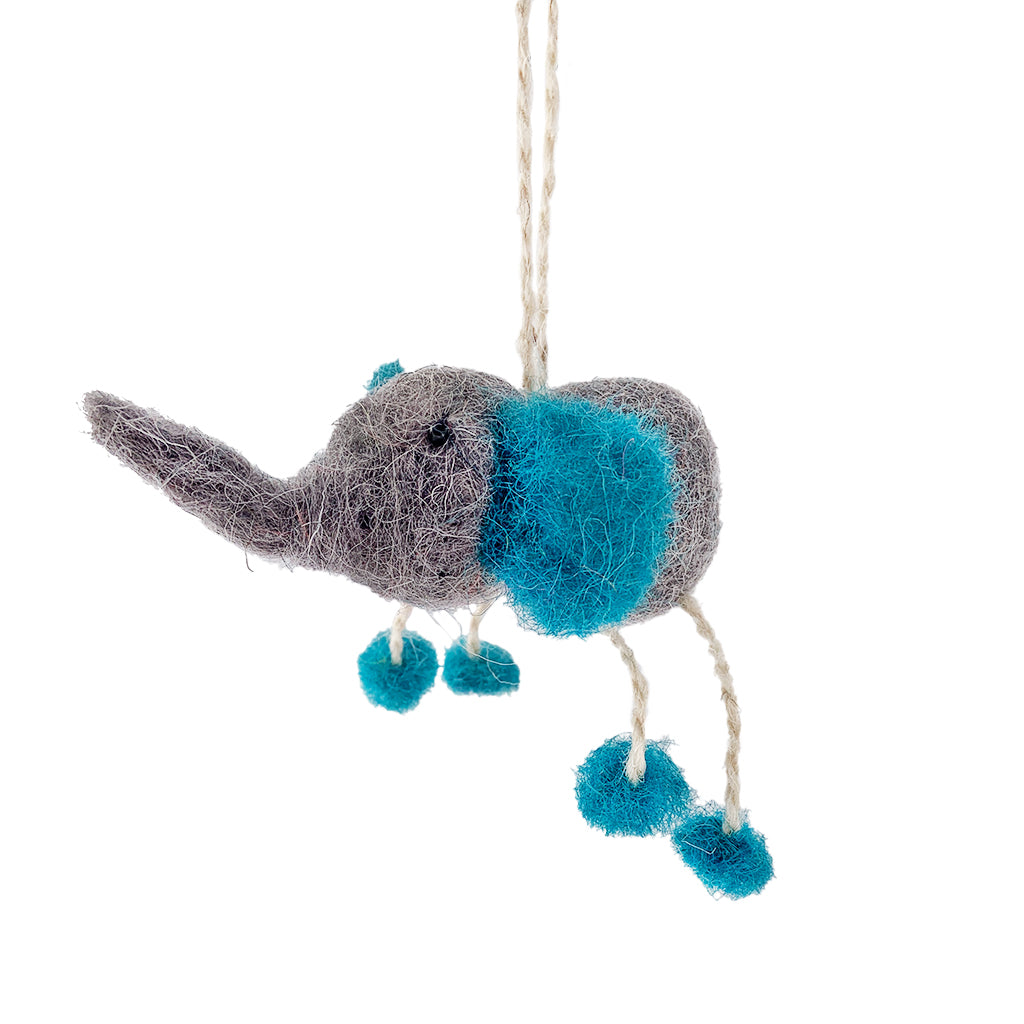 Elephant Felted Ornament