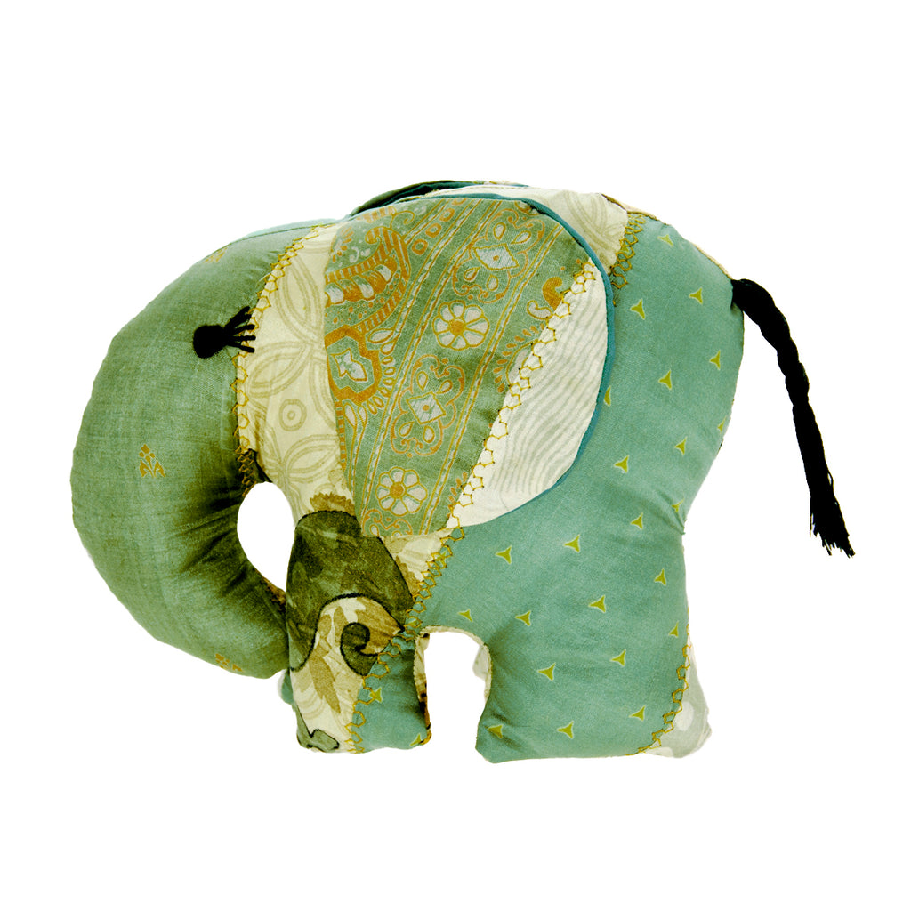 Green Silk Patchwork Large Elephant