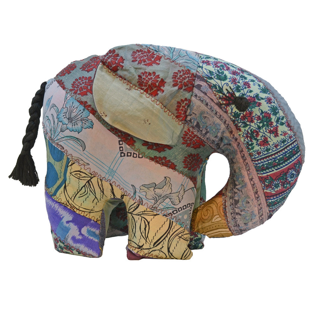 Grey Silk Patchwork Jumbo Elephant