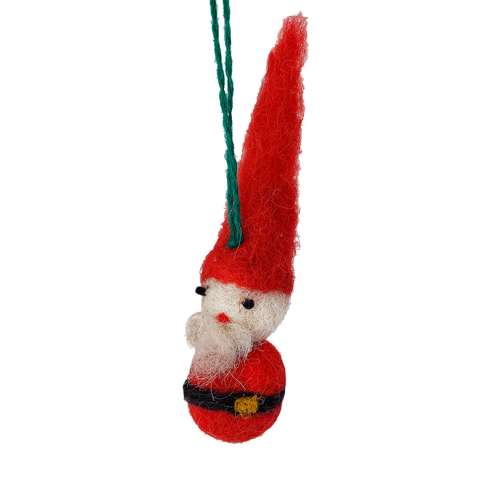 Santa Gnome Felted Ornament