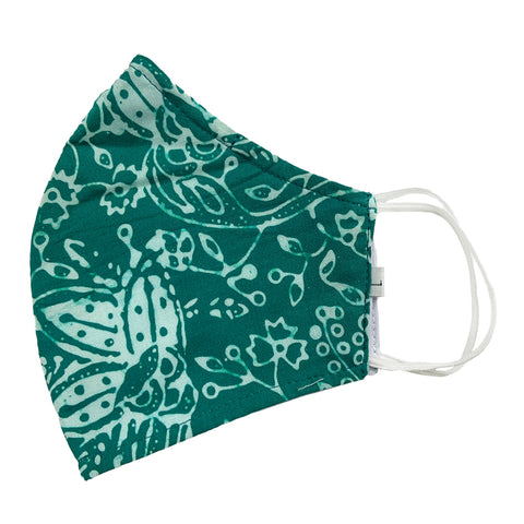 Batik Cotton Face Mask - Green Flowers (L)