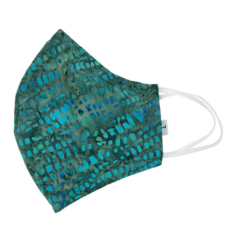 Batik Cotton Face Mask - Teal Mosaic (L)