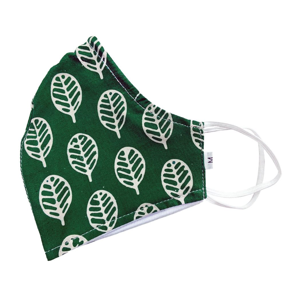 Batik Cotton Face Mask - Green & White (M)