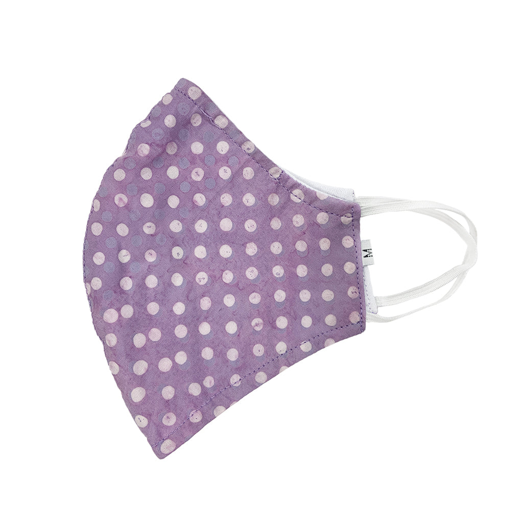 Batik Cotton Face Mask - Lilac Dots (M)
