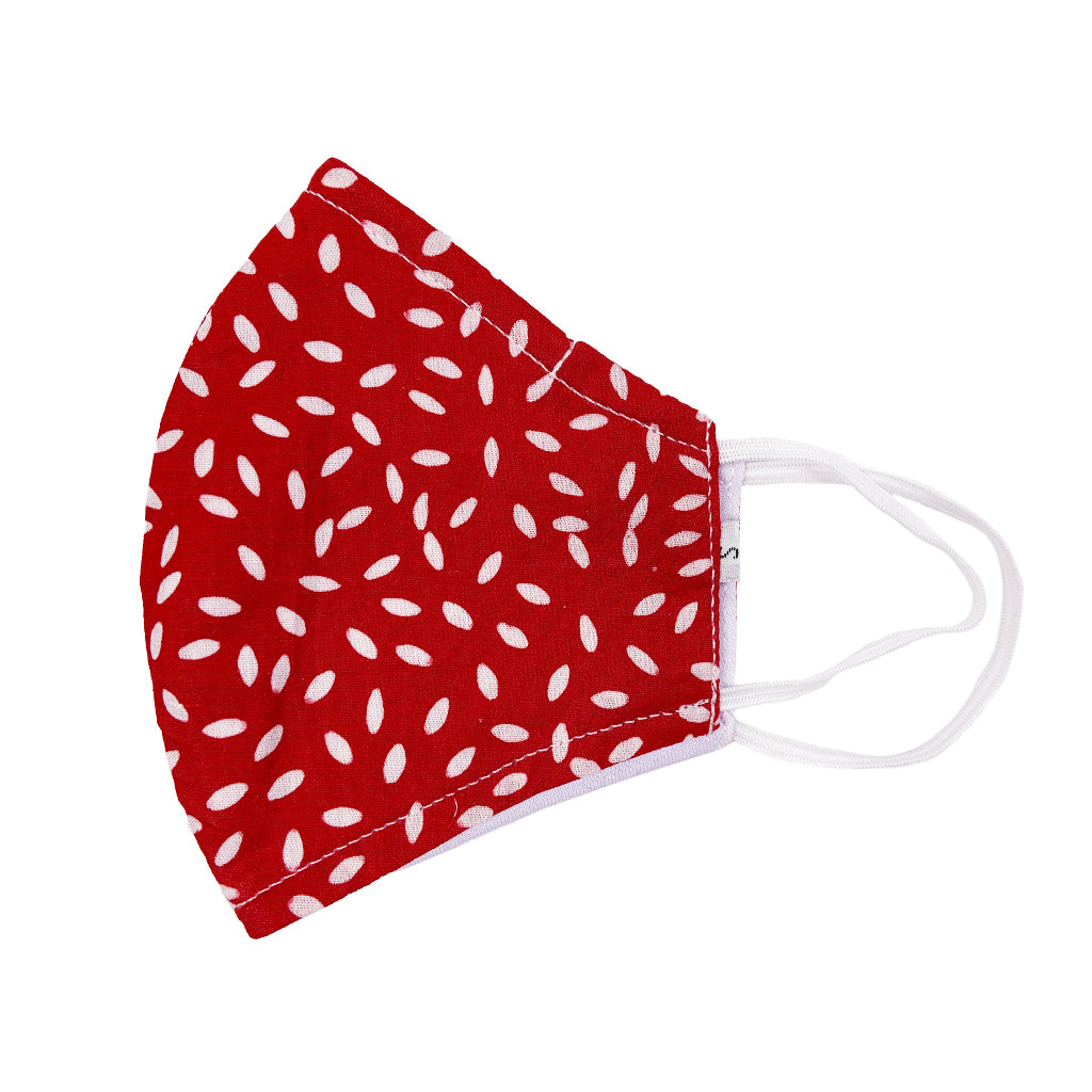 Batik Cotton Face Mask - Red & White (S)