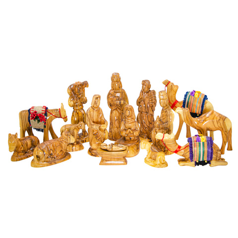 16-Piece Olive Wood Nativity Set