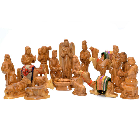 20-Piece Olive Wood Nativity Set
