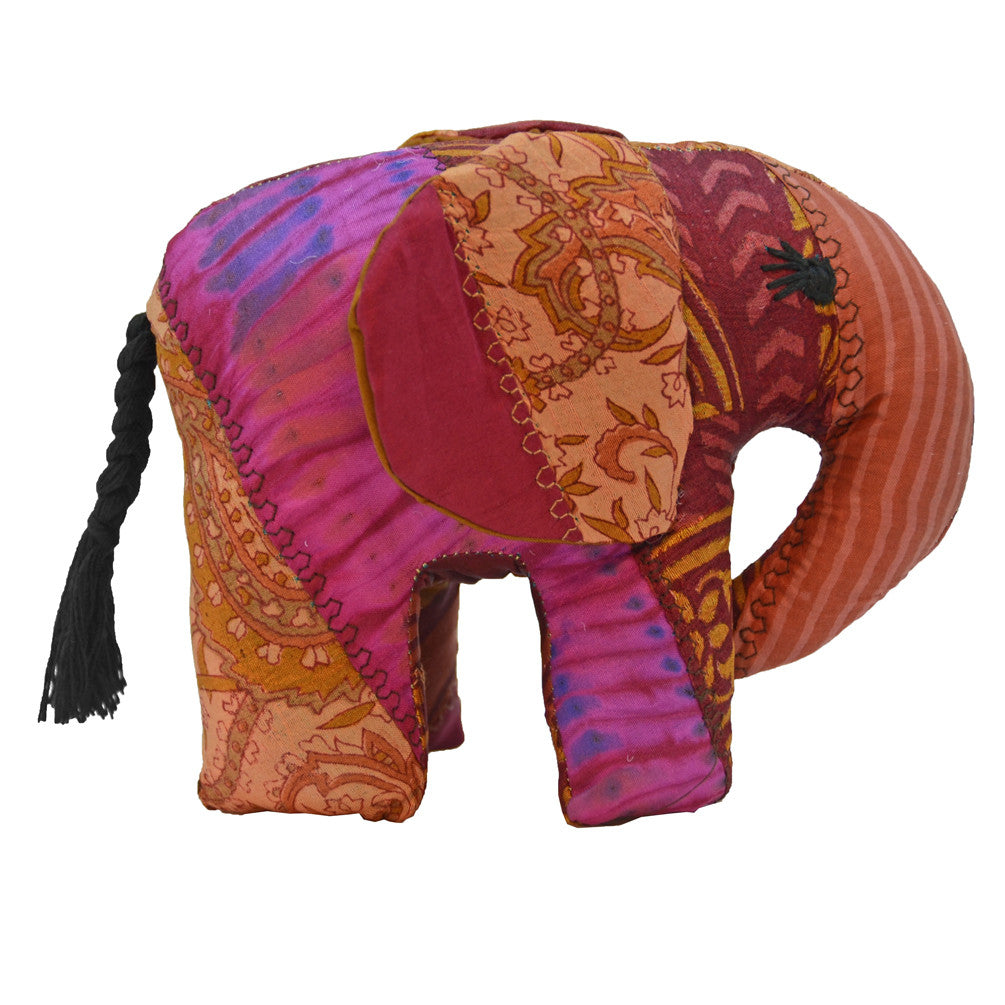 Red Silk Patchwork Large Elephant