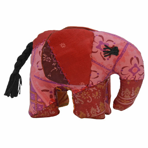 Red Silk Patchwork Small Elephant