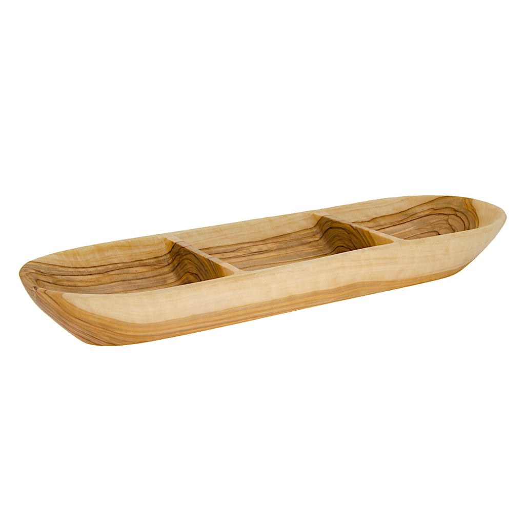 Three Section Olive Wood Dish