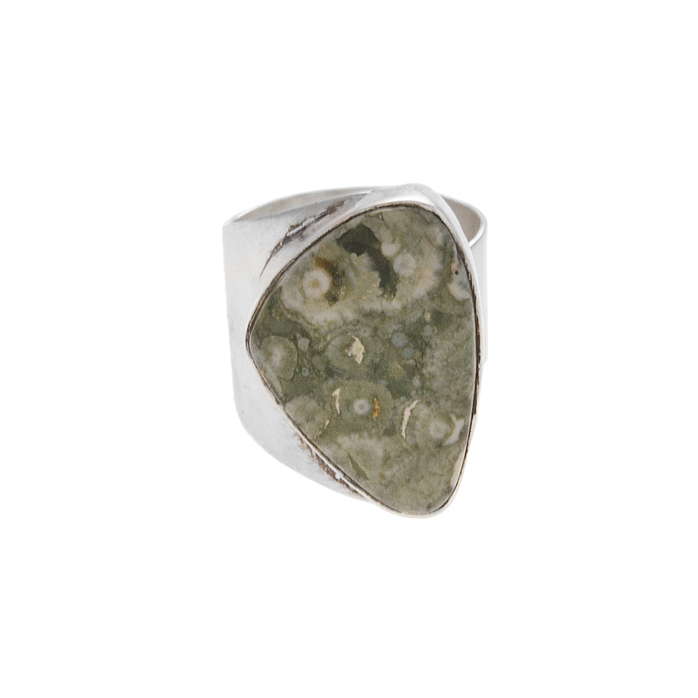 Rainforest Jasper Silver Ring