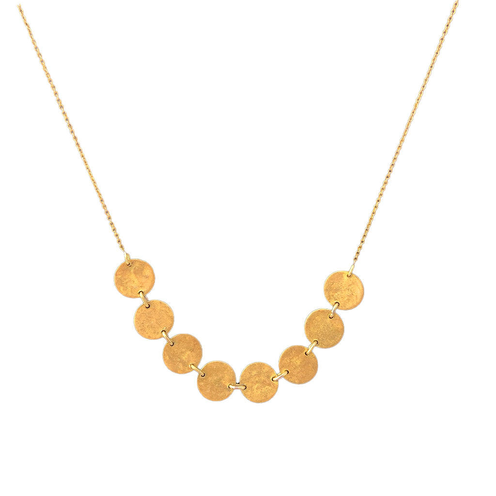 Raw Brass Mini Disc Necklace