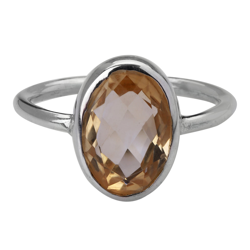 Citrine Sterling Silver Ring 7.5