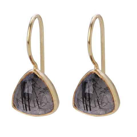Black Rutile Gold Earrings