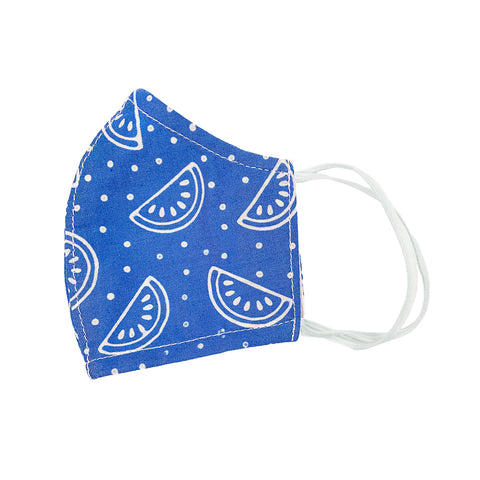Batik Cotton Face Mask - Blue Melons (XS)