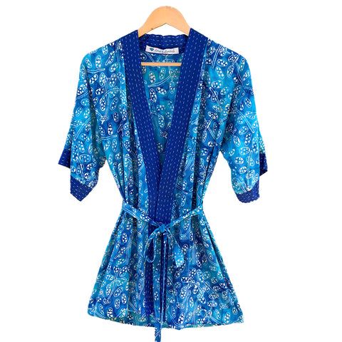 Youth Kantha Stitch Robe in Blue