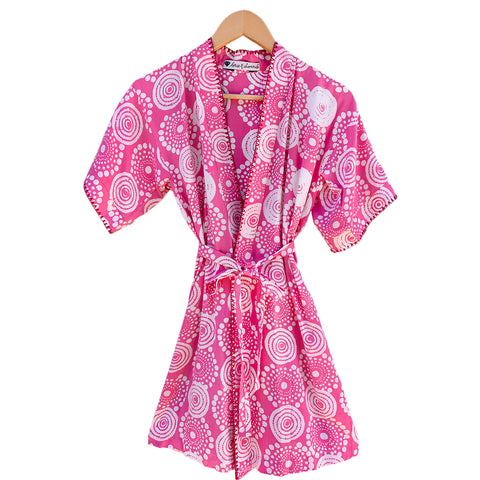 Youth Kantha Stitch Robe in Pink