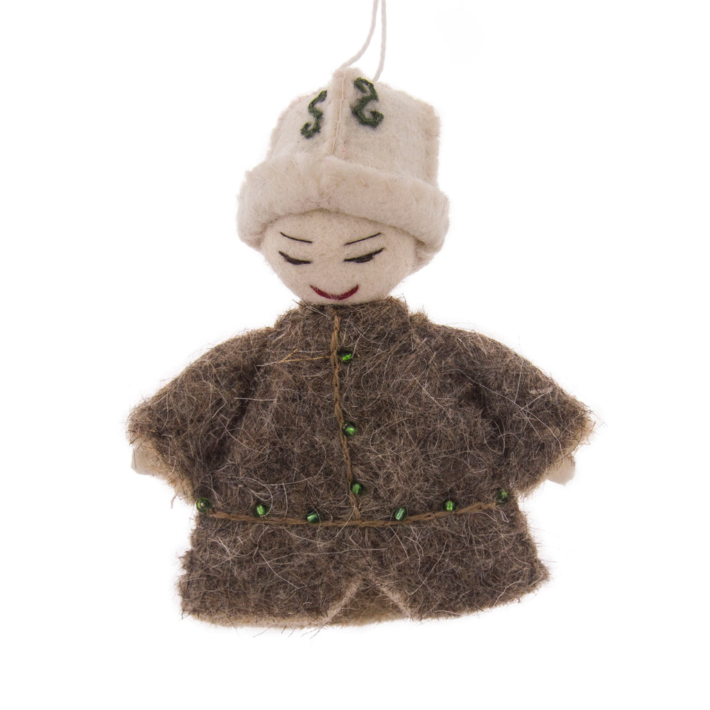 Kyrgyz Man in Kolpok Hat Felt Ornament
