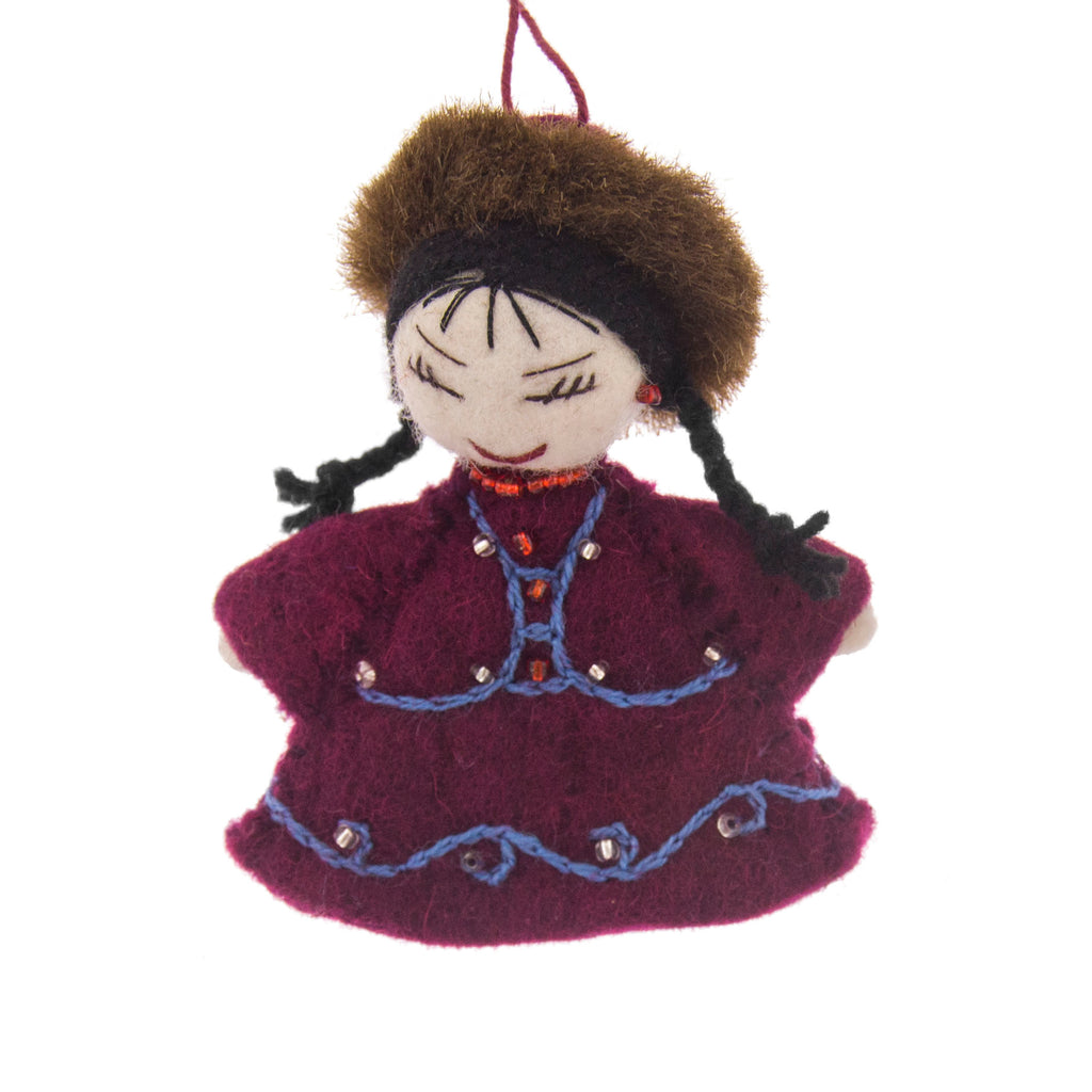Kyrgyz Girl in Purple Felt Ornament