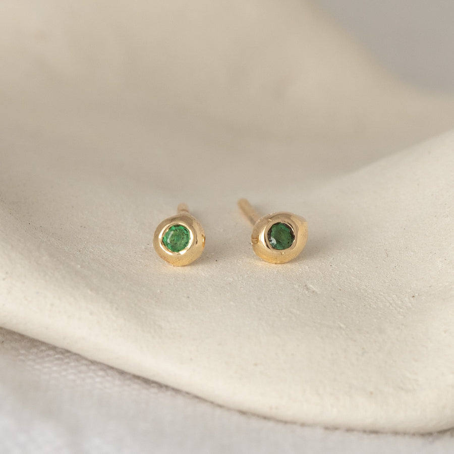 Emerald Gemstone Studs