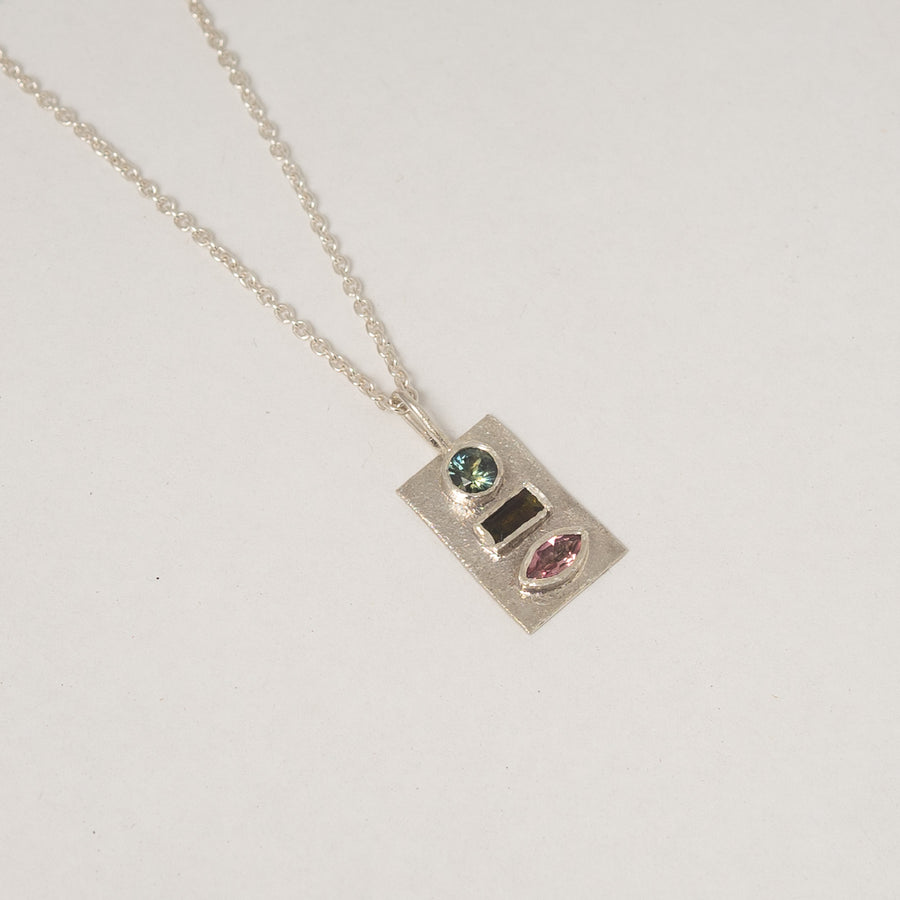 Tourmaline and Sapphire Silver Pendant