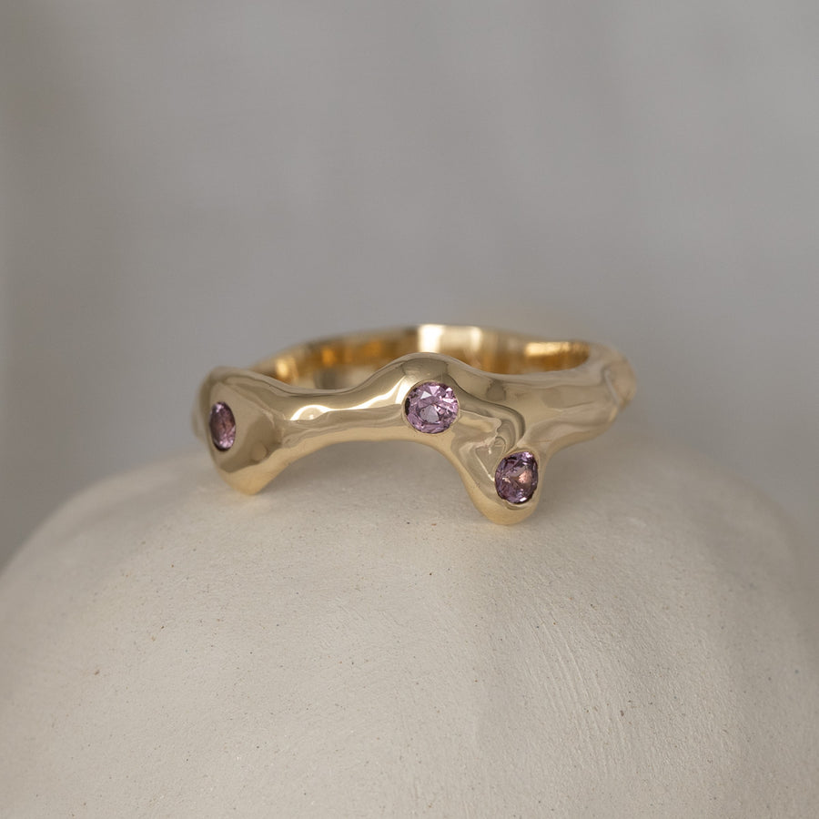 Tidal Ring with trio of Pink Australian Sapphires
