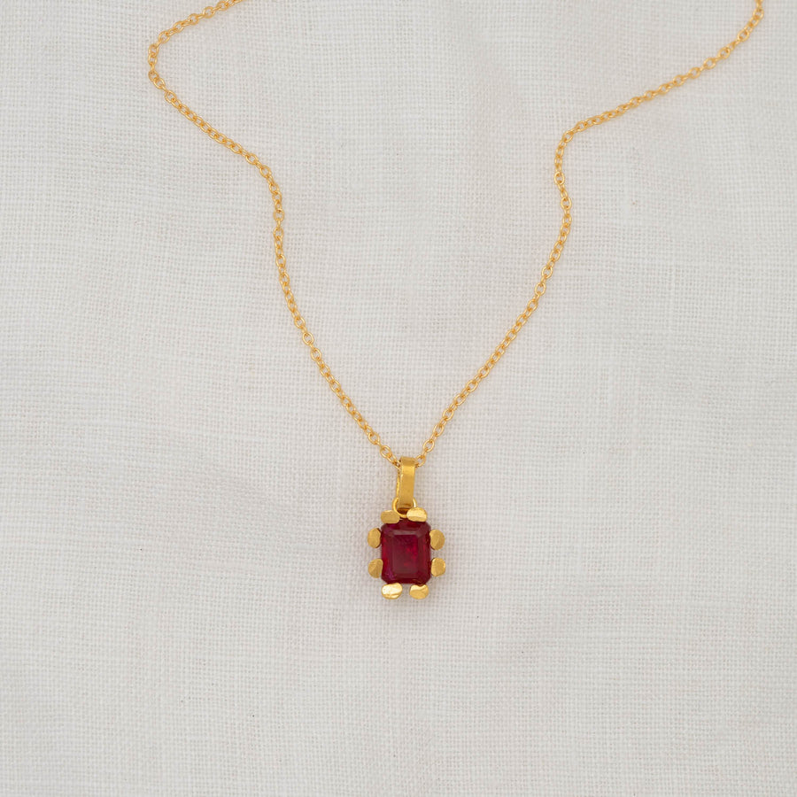 Paloma Ruby Pendant on Gold Filled Cable Chain.