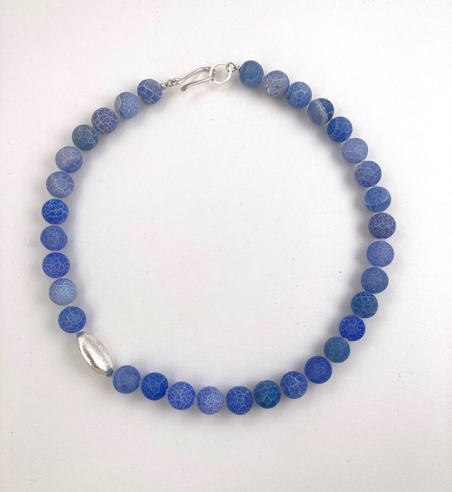 Melissa James - Powder Blue Crackle Agate Pod Necklace