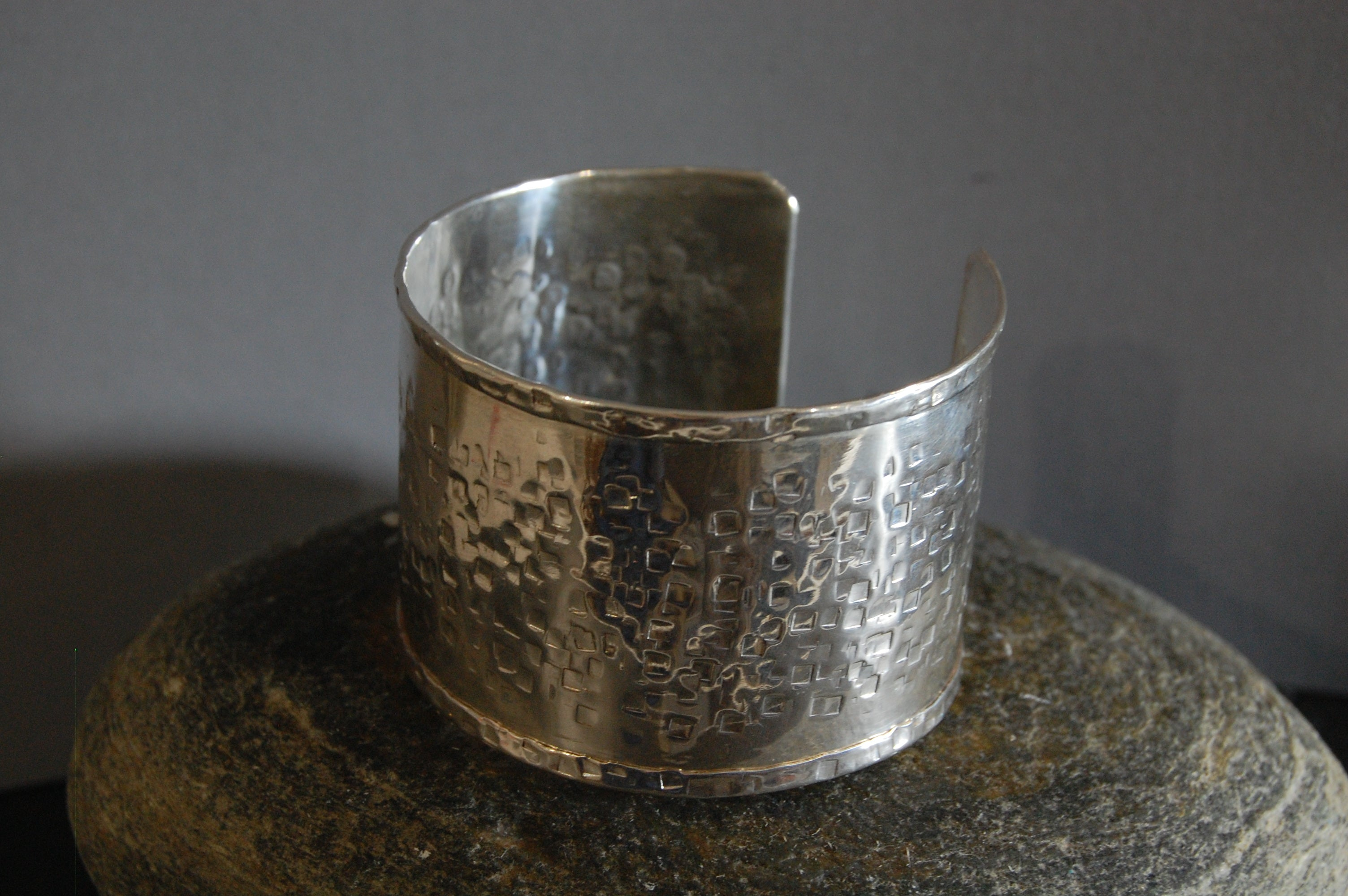 Lesley Ross Central Square-hammered Silver Cuff