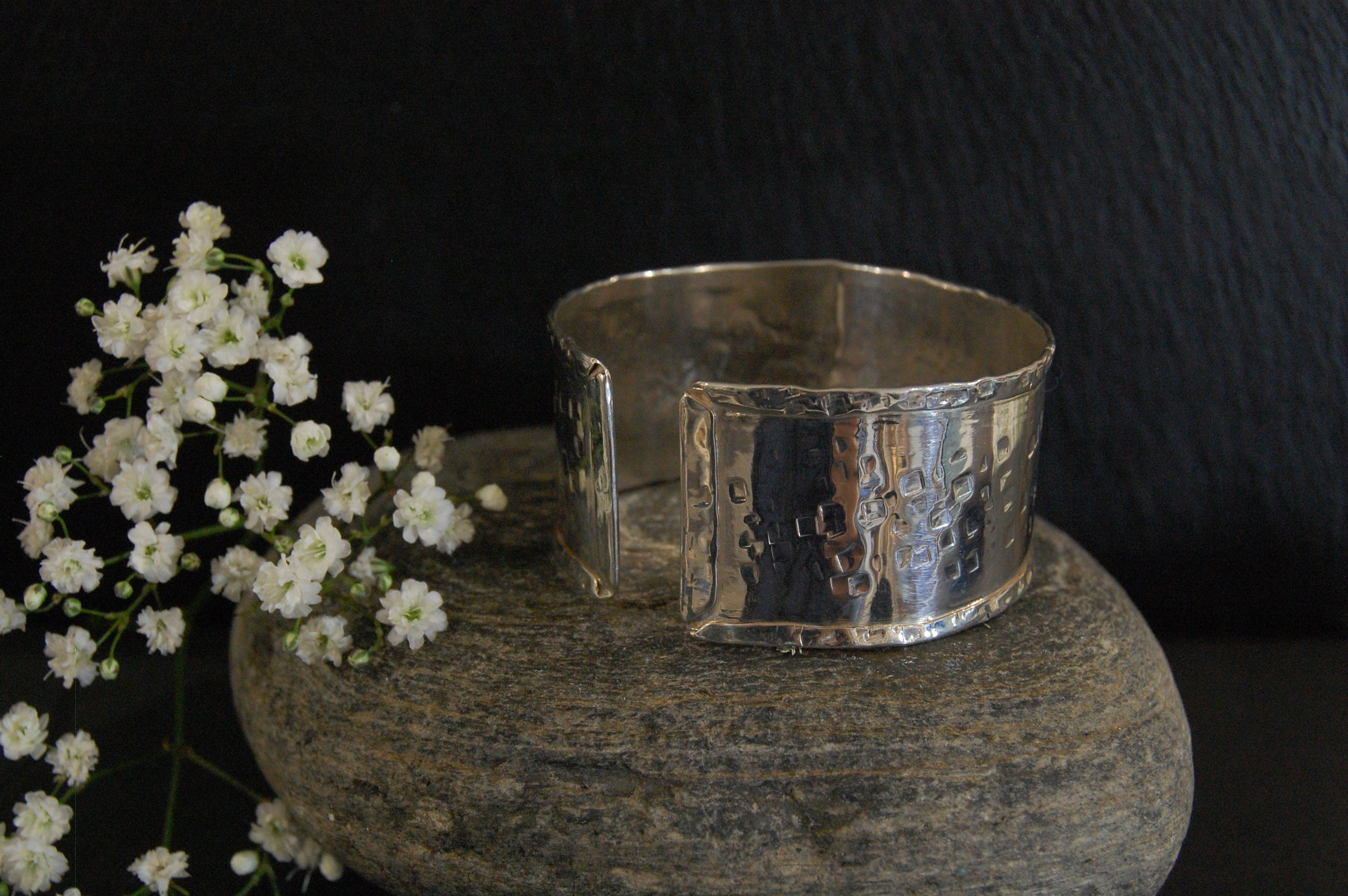 Lesley Ross Central Square-hammered Silver Cuff - Small