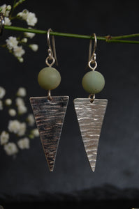 Lesley Ross Silver Drop Triangle Earrings with Bead