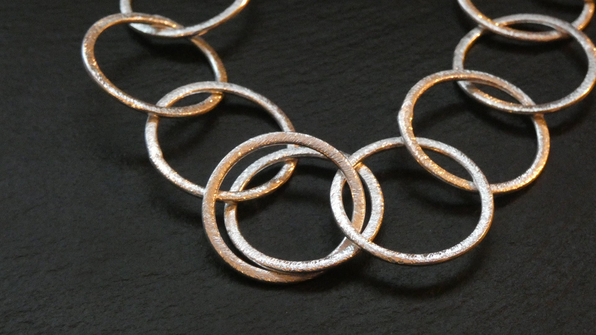 Melissa James - Circles Brushed Silver Metal Necklace