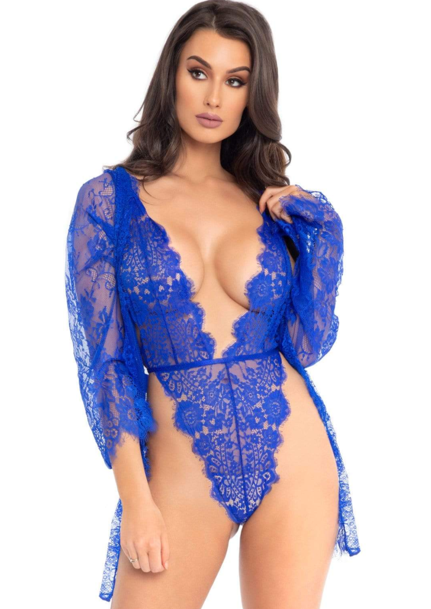 3pc Lace Teddy and Robe Set - Royal Blue