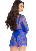 Load image into Gallery viewer, 3pc Lace Teddy and Robe Set - Royal Blue