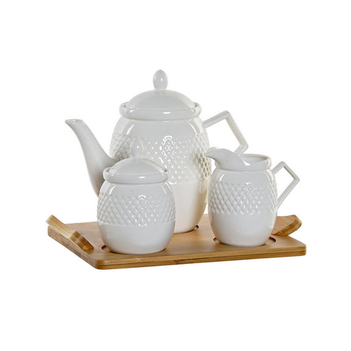 Set Teiera DKD Home Decor Bambù Porțelan (4 pcs) - SPOTOSHOP