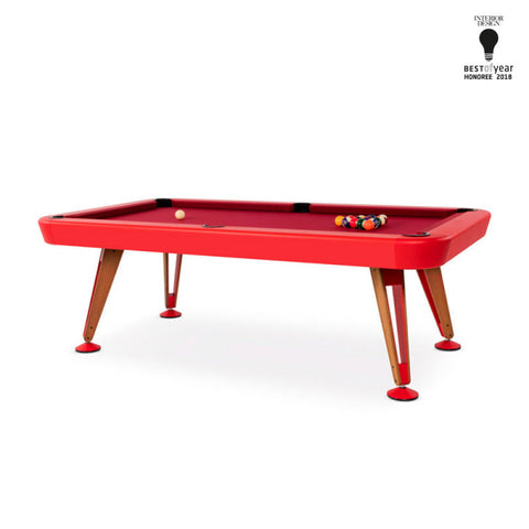 "Pool Table Diagonal Design Indoor Pool Table 8"" Red RS Barcelona - Play Offside"