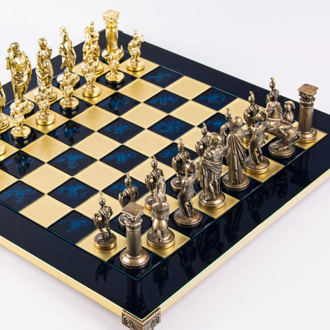 Chess Set Greek Roman Period Metal Chess Board & Men Available in 2 colours Blue Manopoulos - Play Offside
