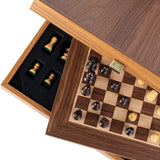 Chess Set Walnut Chess Set with Staunton Chessmen 6.5cm King Manopoulos - Play Offside