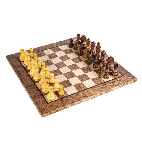Chess Set Burl Walnut Wood Chess Set 50cm board and Staunton Chessmen 9.5cm King Manopoulos - Play Offside