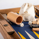 Backgammon Ivory wood Backgammon with Blue and Yellow Interior Eco Leather Manopoulos - Play Offside
