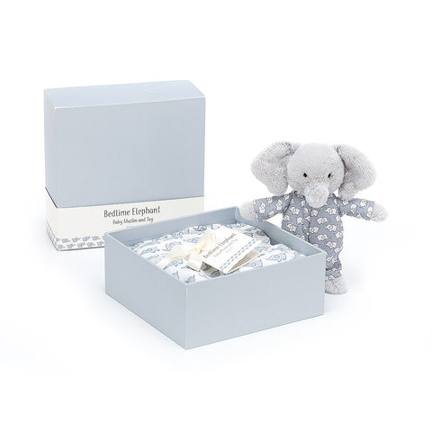 Baby Gift Set Bedtime Elephant Gift Set Muslin & Teddybear Suitable from Birth Jellycat - Play Offside