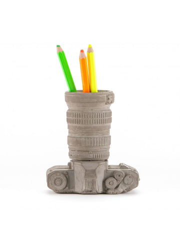 Object Concrete Camera Decoration & Pencil Holder Seletti - Play Offside